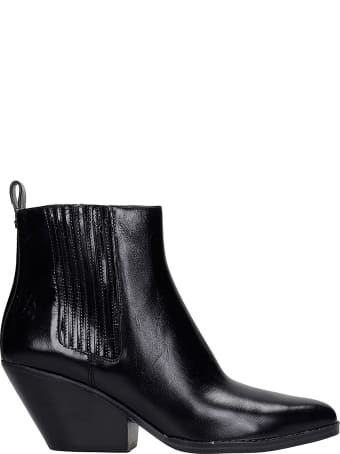 Michael Kors Sinclair Texan Ankle Boots In Black Leather