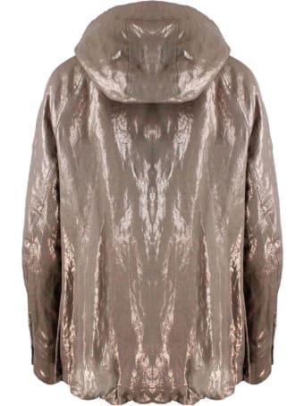 Brunello Cucinelli Bronze Laminated Linen Hooded Jacket