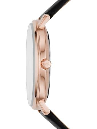 Michael Kors Pyper Gold Tone Black Leather Watch