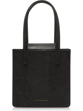 Marge Sherwood Black Lizard Embossed Leather Grandma Tote Bag