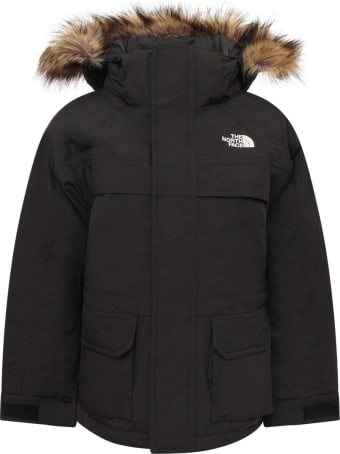 The North Face Black Boy Parka With Faux Fur Trimming