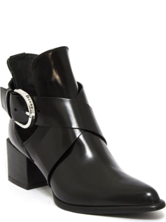 Roberto Festa Black Leather Brienne Buckled Boots