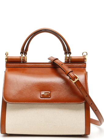 Dolce & Gabbana Sicily 58 Leather And Canvas Bag