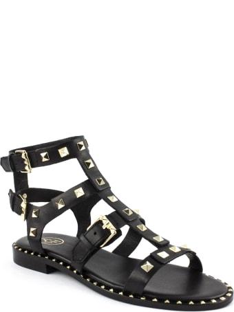 Ash Black Leather Sandals