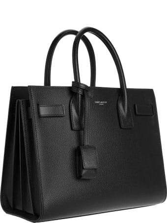 Saint Laurent Classic Sac De Jour Baby Bag In Grain De Poudre Embossed Black Leather