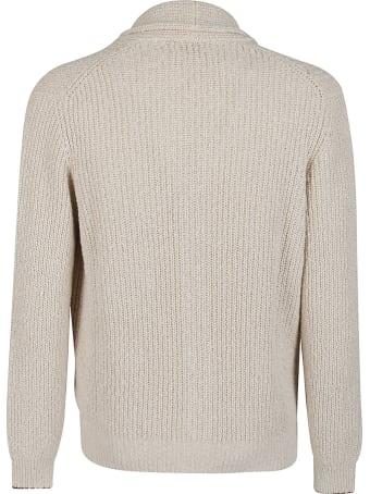 Brunello Cucinelli Beige Cotton-lilen Blend Cardigan