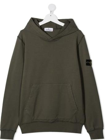 Stone Island Junior Dark Green Jersey Hoodie With Patch Logo