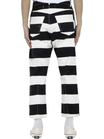 Vyner Articles Stripy Print Jeans - White/black