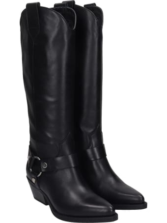 Janet & Janet Texan Boots In Black Leather