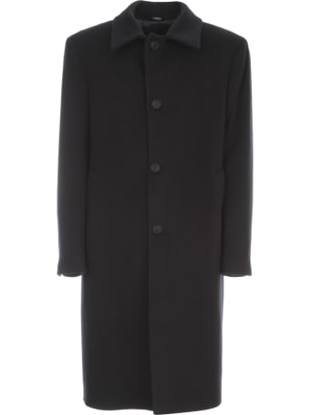 Emanuel Ungaro Wool Cashmere Single Breasted Coat W/shirt Neck