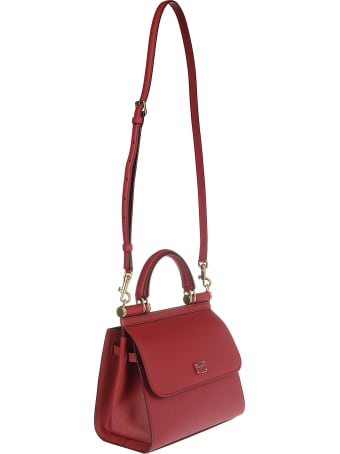 Dolce & Gabbana Red Leather Sicily Small Tote Bag