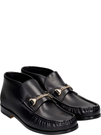 hyusto Mick Mid Ankle Boots In Black Leather