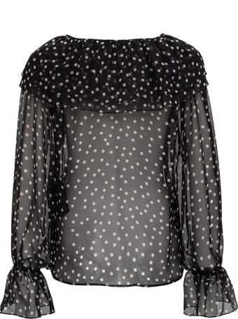 Saint Laurent Polka Dot Silk Shirt With Ruffle Detail