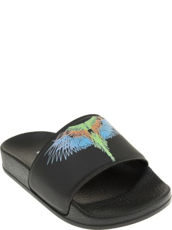 Marcelo Burlon Black Kid Slippers With Multicolored Wings Print