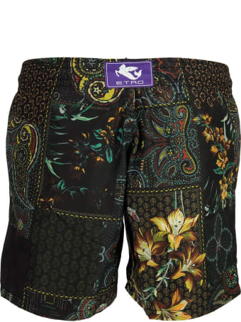 Etro Paisley/floral Print Logo Swimming Shorts