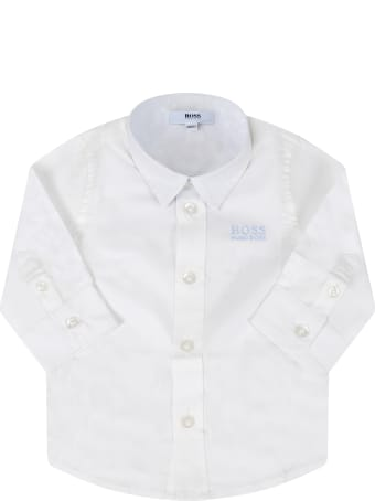Hugo Boss White Shirt For Babyboy With Logo