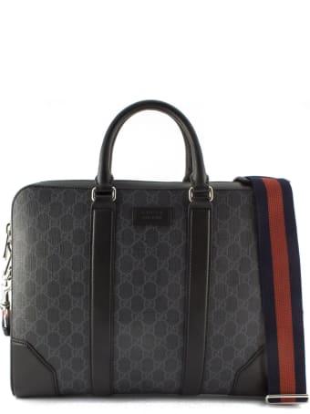 Gucci Soft Black/grey Gg Supreme Briefcase