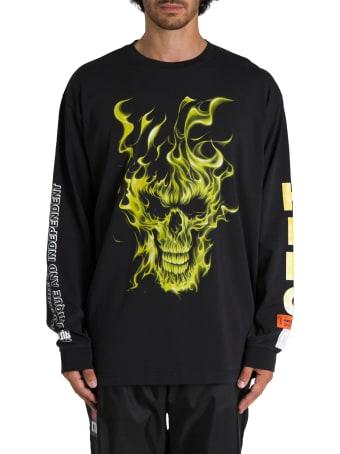 HERON PRESTON T-shirt A Maniche Lunghe Girocollo Stampa Frontale Skull