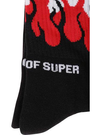 Vision of Super Black Socks Red Flames