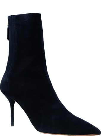 Aquazzura Blue Suede Saint Honore Bootie 85