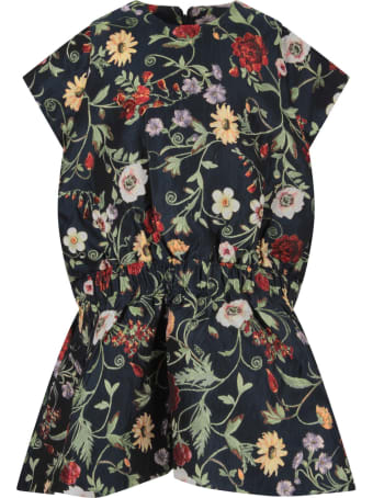 Oscar de la Renta Blue Dress With Flowers For Girl