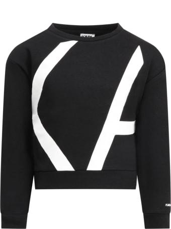Karl Lagerfeld Kids Black Sweatshirt For Girl
