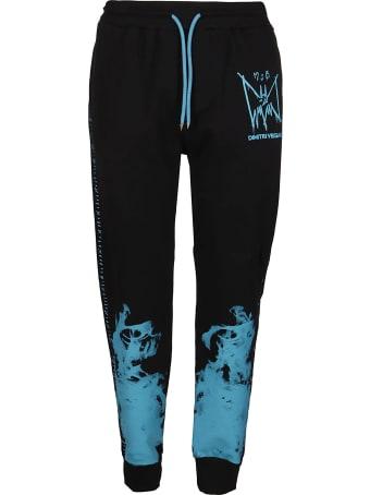 Marc Jacques Burton Black And Light Blue Cotton Track Pants