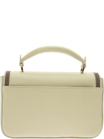 Brunello Cucinelli Polished Calfskin Bag With Precious Contour Milk