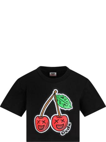 GCDS Mini Black T-shirt For Girl With Cherry