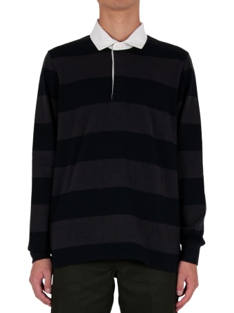 Pop Trading Company Striped Rugby Polo - Black/grey