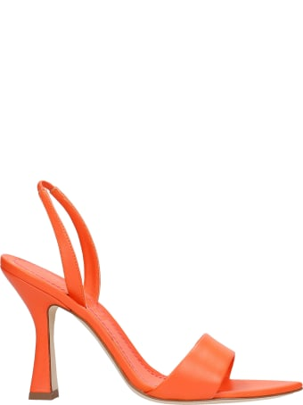 3JUIN Lily 095 Sandals In Orange Leather
