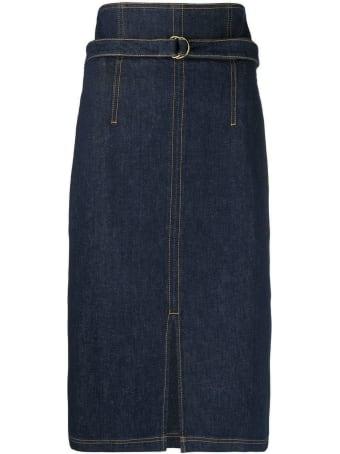 Philosophy di Lorenzo Serafini Dark Blue Stretch-cotton Denim Midi Skirt