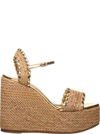 Casadei Rafia Wedge Sandals