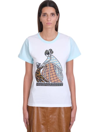 Lanvin Patchwork Mother And Child  T-shirt In White Cotton
