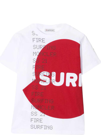 Moncler White T-shirt With Red Print