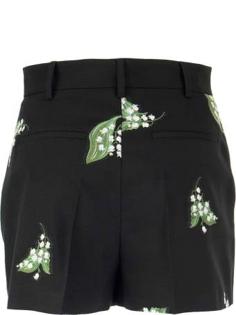 RED Valentino May Lily Motif Gabardine Jacquard Shorts
