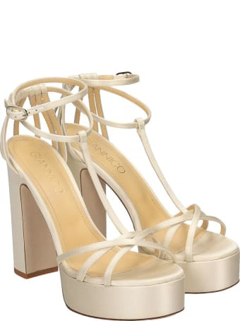 Giannico Evelyn Sandals In White Satin