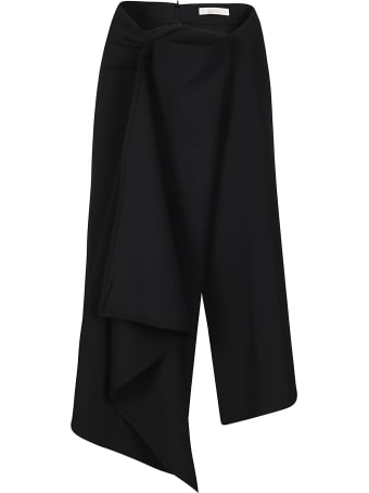 SSHEENA Black Virgin Wool-blend Grappoli Skirt