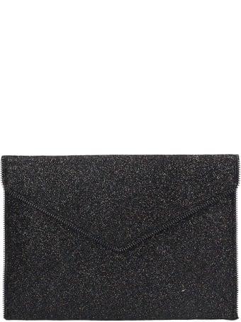 Rebecca Minkoff Leo Clutch In Black Leather