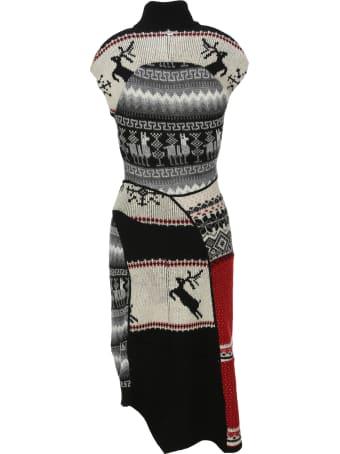 Marine Serre Rigenerated Knit Asymmetric Dress