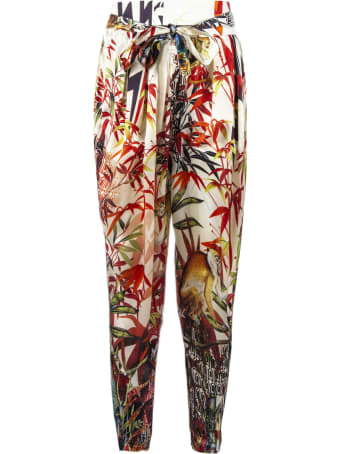Dsquared2 Tropical Print Silk Trousers