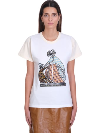 Lanvin Patchwork Mother And Child Logo T-shirt In Beige Cotton