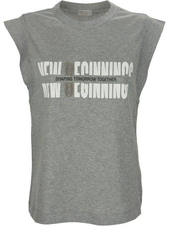 "Brunello Cucinelli ""new Beginnings"" Top In Light Cotton Jersey"