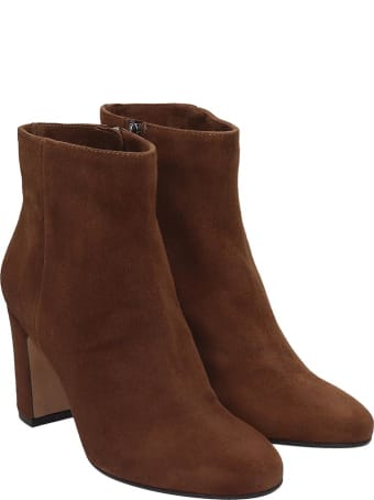 Julie Dee High Heels Ankle Boots In Leather Color Suede