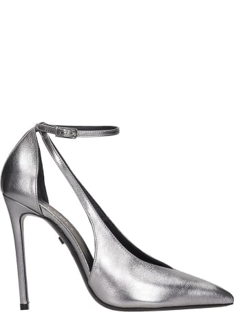 Grey Mer Pumps In Grey Leather