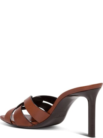 Saint Laurent Tribute Sandals In Brown Leather