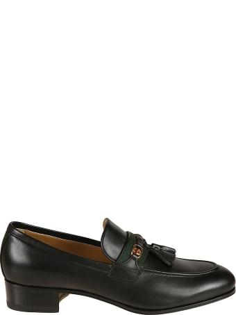 Gucci Tassel Applique Web Striped Loafers
