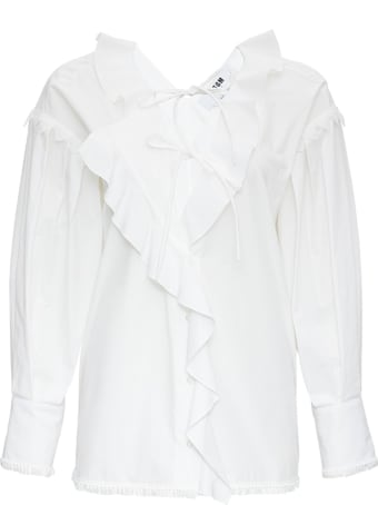 MSGM White Cotton Blouse With Ruffles Detail