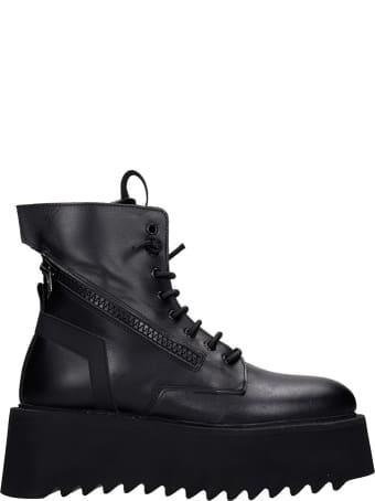 Bruno Bordese Giorgia Combat Boots In Black Leather