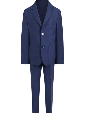Dolce & Gabbana Blue Suit For Boy With Logo